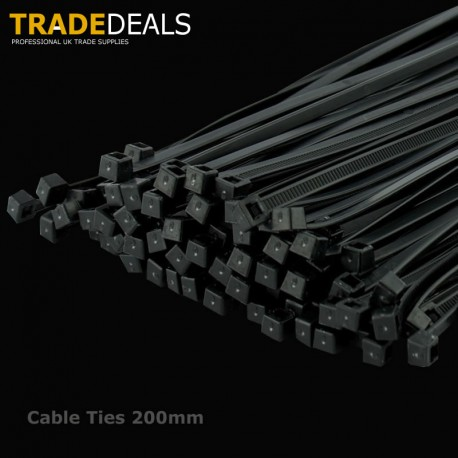 Black Cables Ties 200mm x 4.5mm (100 Pack)