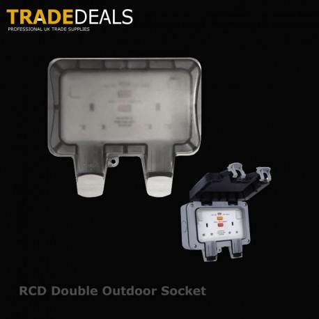 Weatherproof RCD Protected 2 Gang 13A Socket